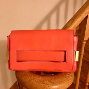 Chloe Lambskin 3 Ways Chain-Link Bag in Orange/Red